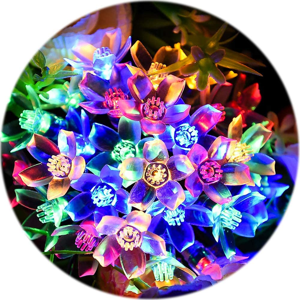 Sakura Lights 33ft 100LED Multi-Color Fullbell Flower String Lights Indoor//Outdoor Decorative String Lights Fairy Twinkle Wire Lights with 8 Flash Changing Modes for Christmas//Patio//Garden//Party