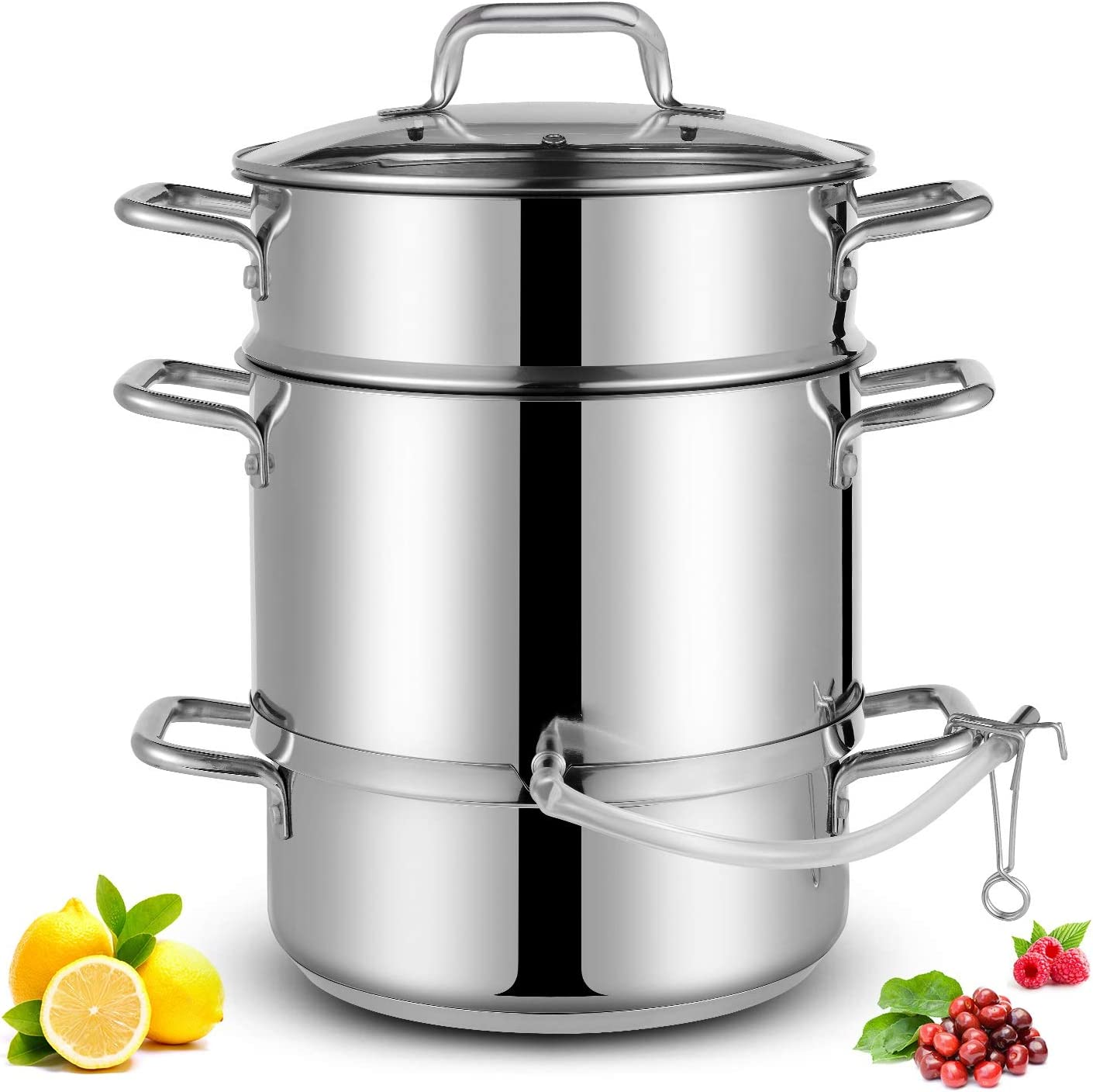 Cyrosa 11 QT Stainless Steel Fruit Vegetables steamer Pot for Making Juicer, Multipot Kitchen Cookware with Tempered Glass Lid, Juicer steamer pot with silicone hose, Clamp, double Loop Handles