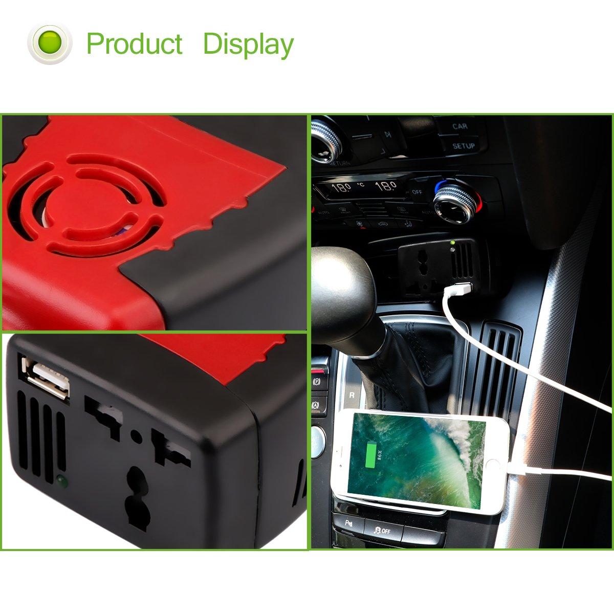 DEBEME 150W onduleur de Voiture Convertisseur DC 12V 220V AC sinusodale modifie Power Wave avec USB 5V Sortie
