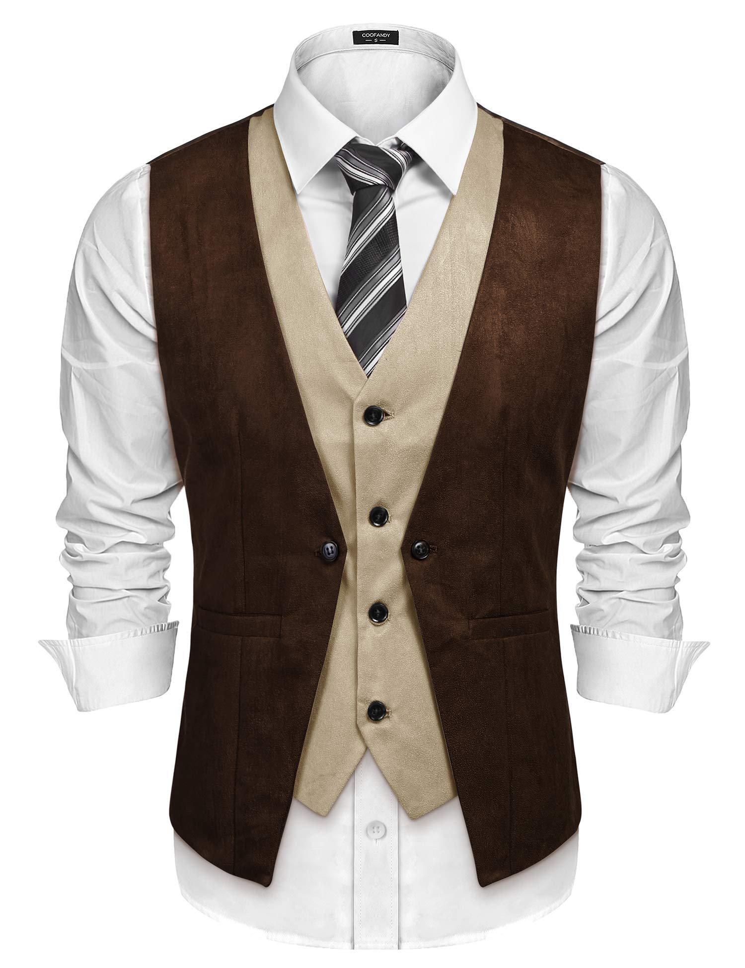 COOFANDY Men's Suede Leather Vest Layered Style Dress Vest Waistcoat, Coffe, X Large