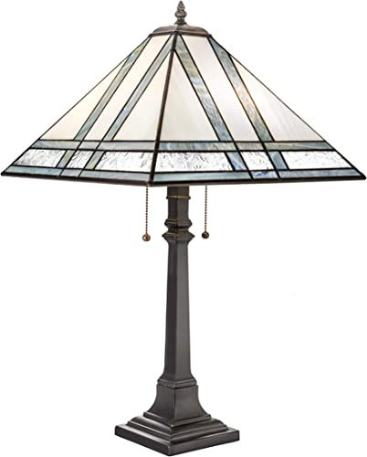 J Devlin Lam 370 TB Large Mission Stained Glass Table Lamp Multi Colored Opal Accent