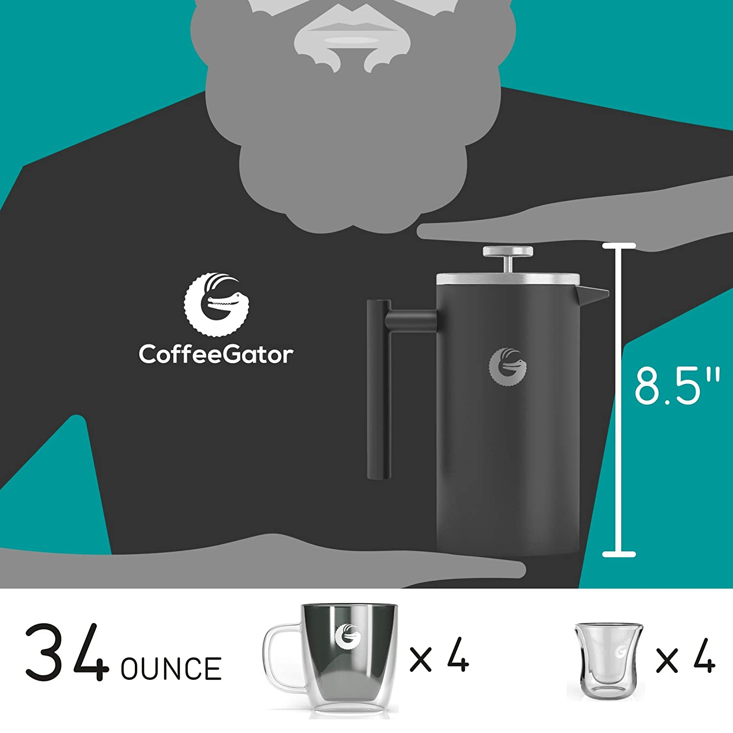 Coffee Gator French Press Coffee Maker – Less Sediment, Hotter-for-Longer Thermal Brewer – Plus Travel Jar – Large Capacity, Double-Wall Insulated Stainless Steel – 34 Ounce – Gray