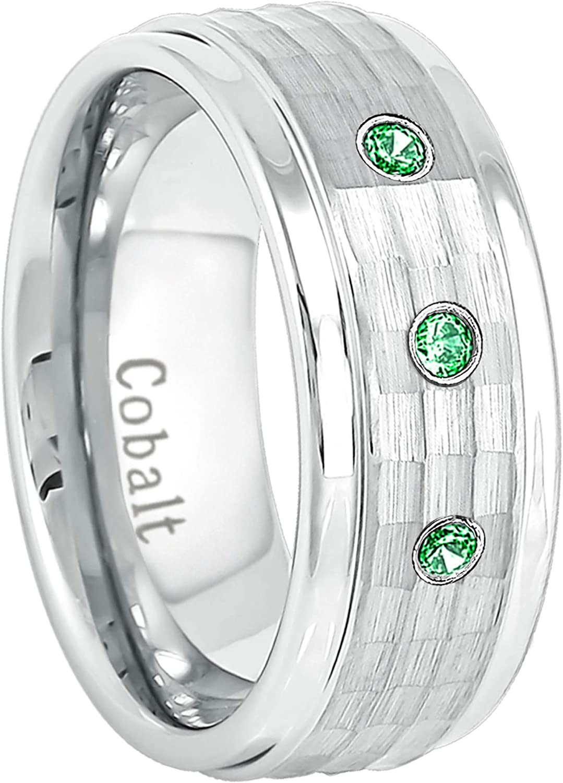 January Birthstone Ring 0.21ctw Tsavorite Garnet 3-Stone Cobalt Ring Jewelry Avalanche 9MM Comfort Fit Hammered Stepped Edge Mens Cobalt Chrome Wedding Band