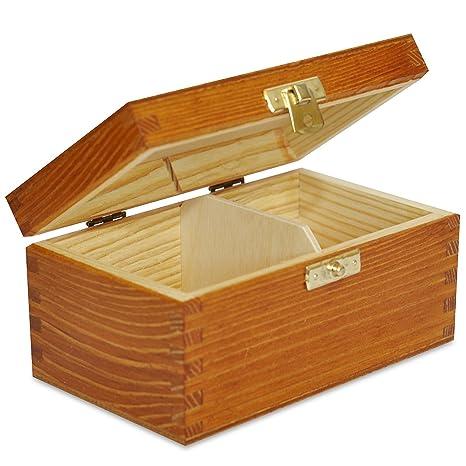 Aliso Caja para Té Bolsita Madera | 2 Compartimentos | 15,2 x 10,