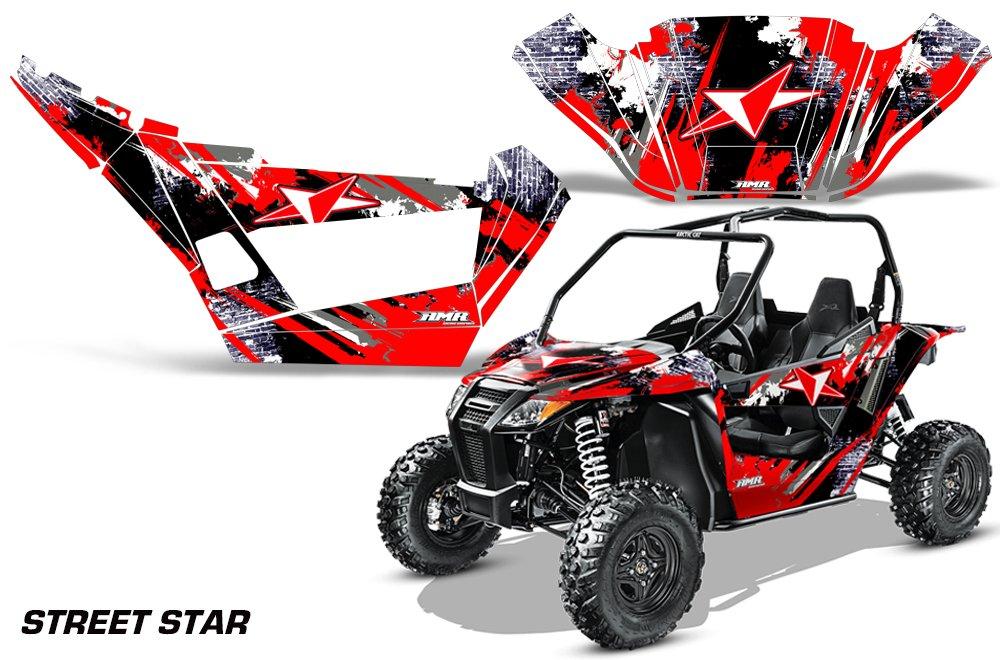 AMRRACING Arctic Cat Wildcat Sport XT Full Custom UTV Graphics Decal Kit Street Star Red