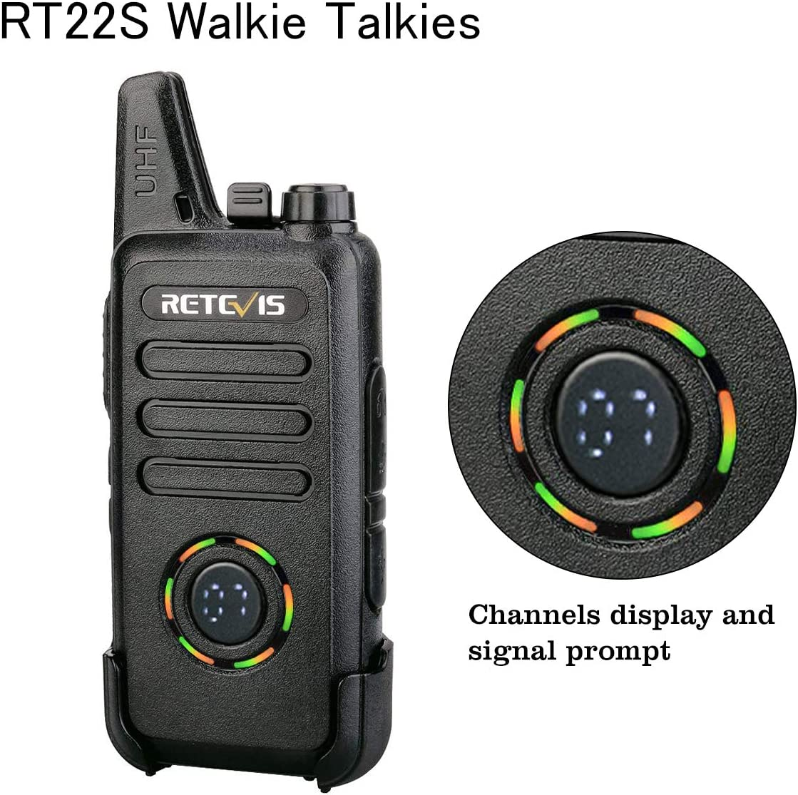 10 Pack Emergency Alarm,for Business Retevis RT22S Two Way Radio,Rechargeable Walkie Talkies Adults,22 Channel Display 2 Way Radios Mini with Earpiece,VOX