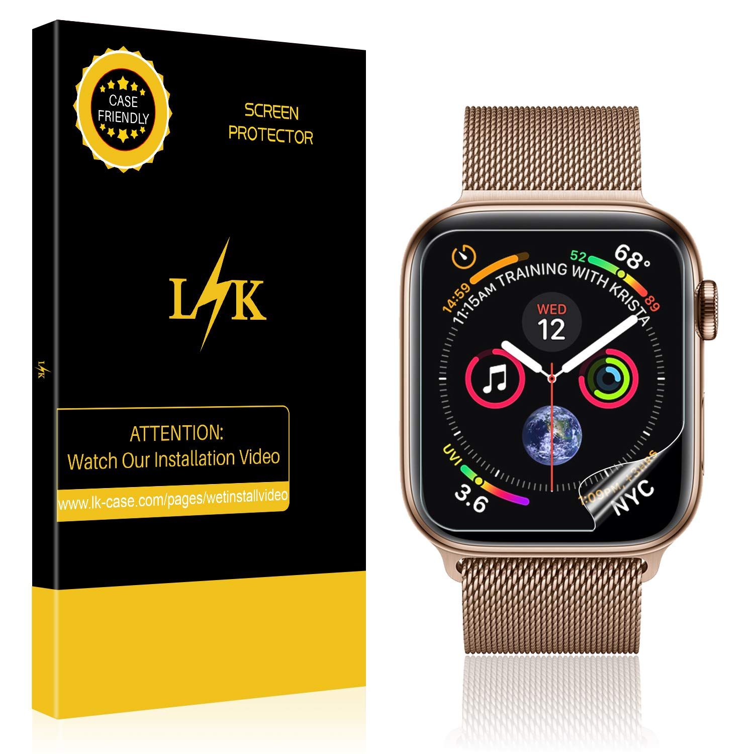 [6 Pack] LK for Apple Watch Screen Protector 44mm / 42mm (Series 4/3/2/1 Compatible), LiquidSkin Full Coverage Screen Protector [HD Clear Anti-Bubble Film] with Lifetime Replacement Warranty
