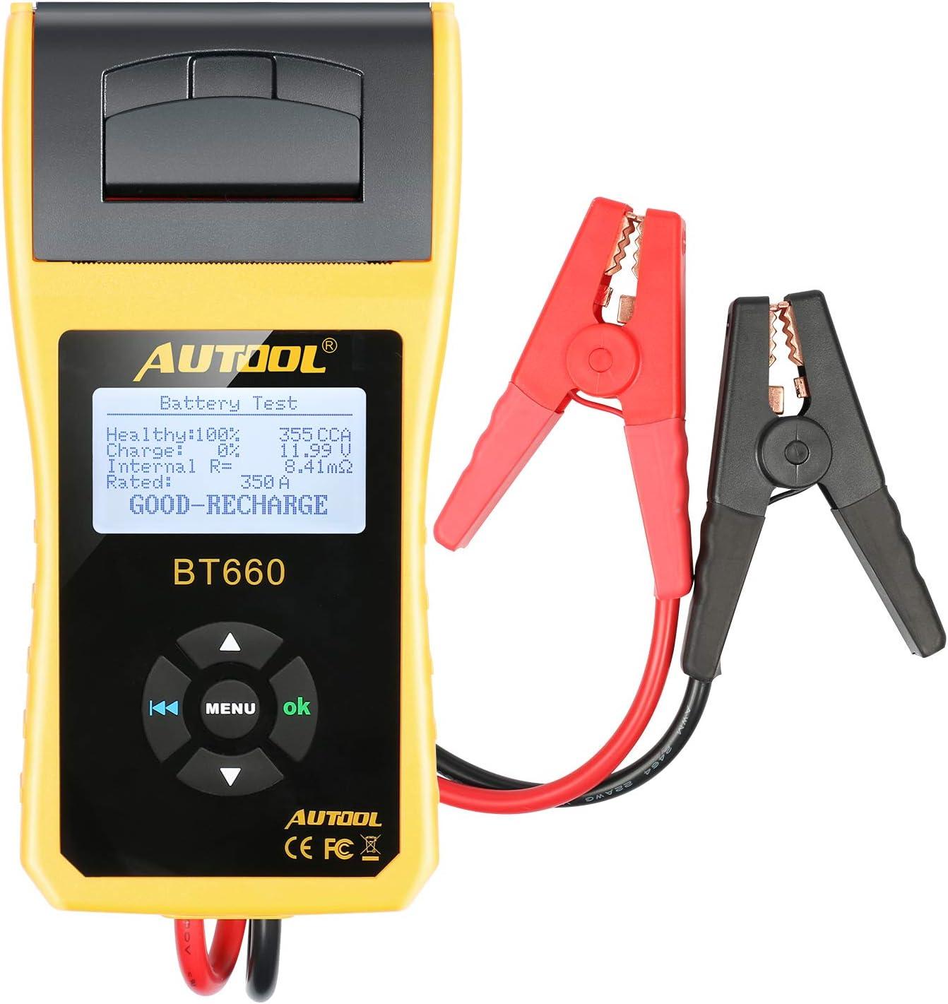 AUTOOL Analizador del probador de la batería del coche 12V / 24V con la impresora para CCA 100-3000 frío inundado que arranca amperios Auto de la batería