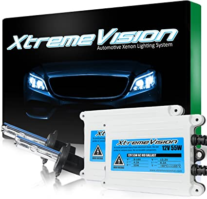 5K Bright White XtremeVision 55W AC Xenon HID Lights with Premium Slim AC Ballast Bi-Xenon H13 // 9008 5000K 2 Year Warranty