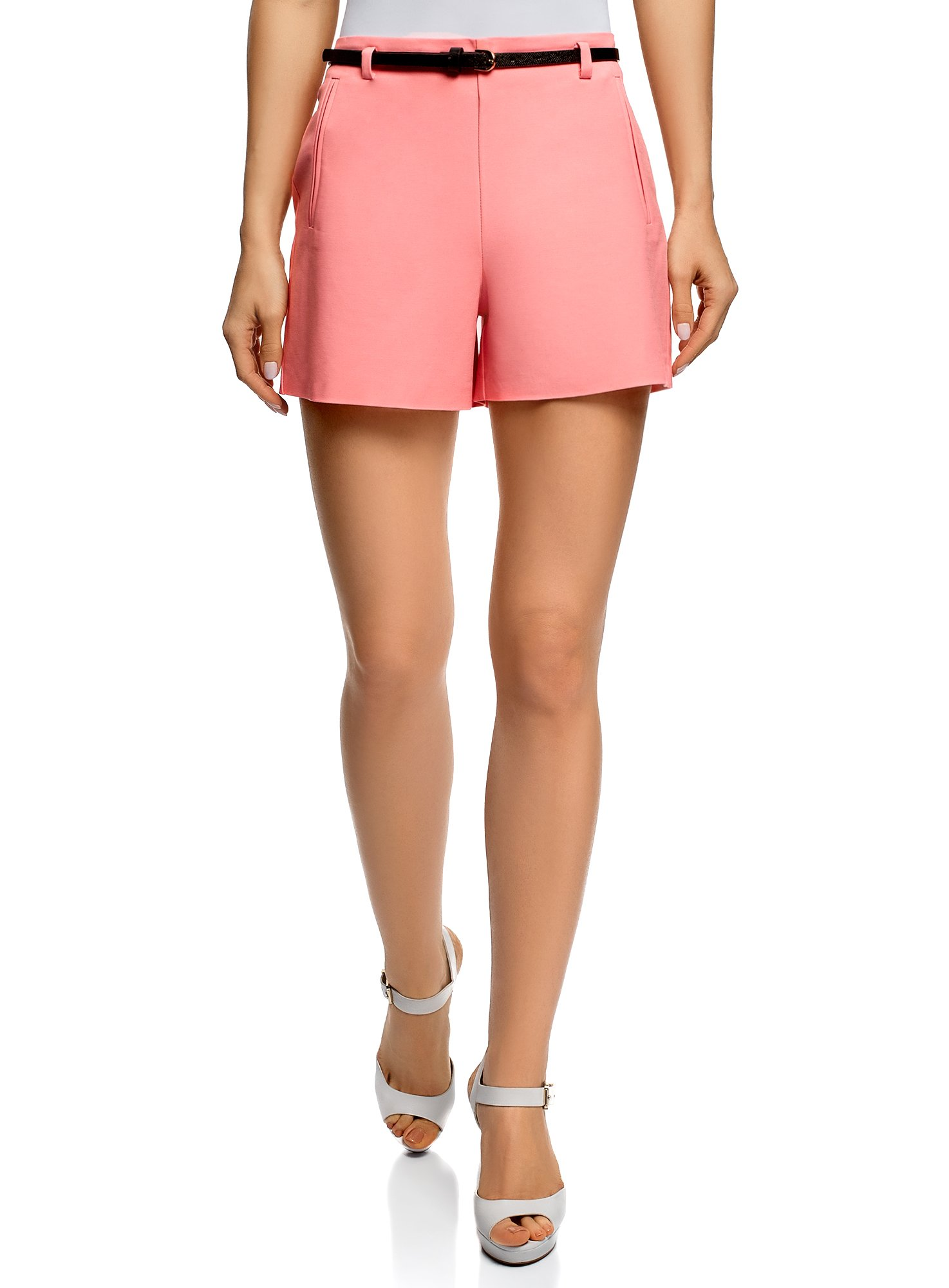 oodji Ultra Women's Belted Cotton Shorts, Pink, 6