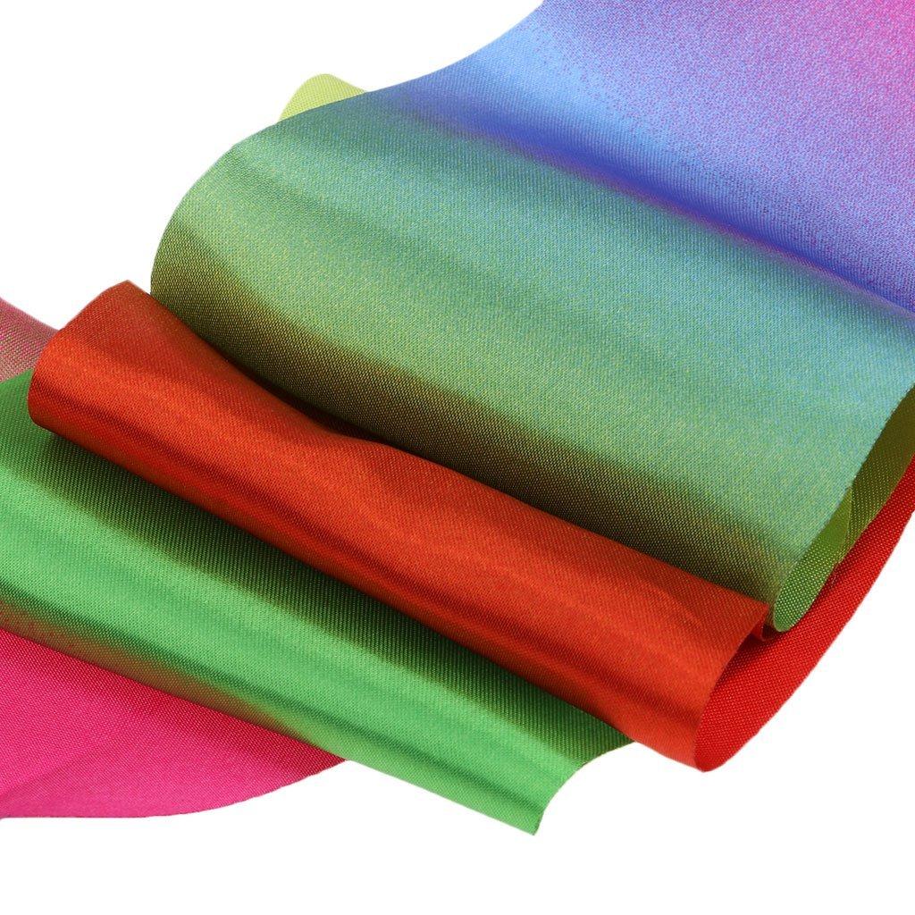 MagiDeal kids Adults Dance Satin Streamer w//Wand Rod Gymnastic Dancing Rainbow Ribbon