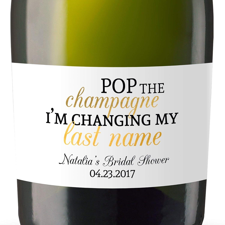 Mini champagne bottle labels for bridal shower bridal shower custom mini champagne label stickers sold in set of 8