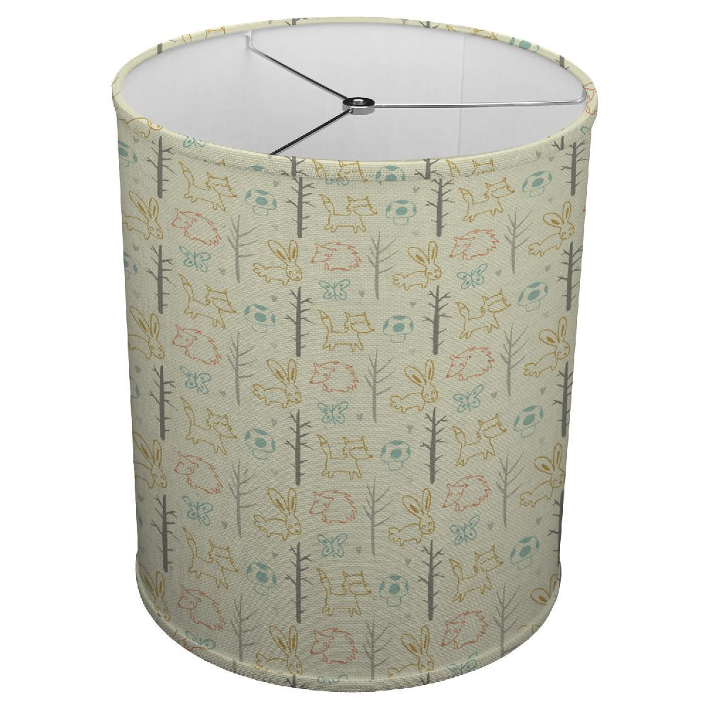 Hardback Linen Drum Cylinder Lamp Shade 8'' x 8'' x11'' Spider Construction [ Sketches Forest Animals With Trees ]