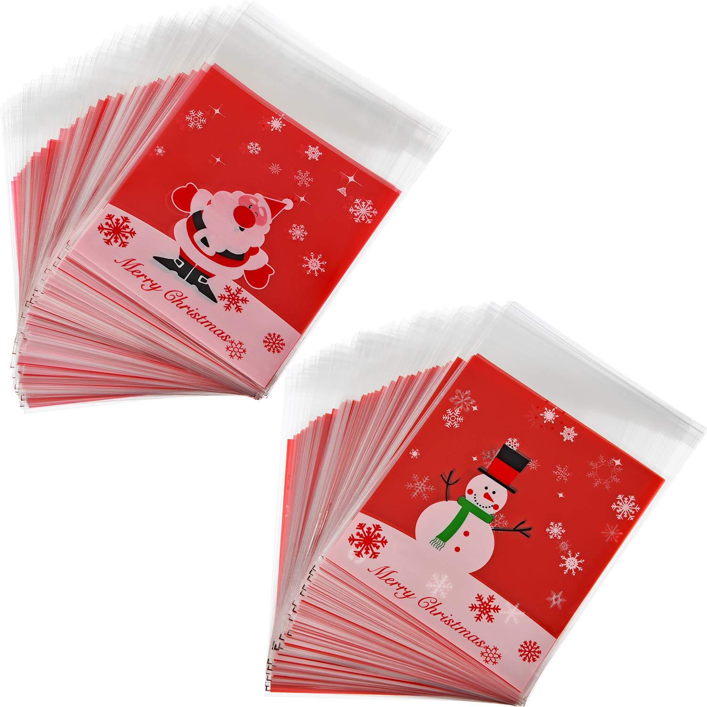 200 pezzi Auto Adesivo Sacchetti Dicellophane Trattare Natale Biscotto Sacchetti di Plastica Caramelle Sacchetti Piccolo Rosso Sacchetti di Regalo per Natale Festa Panetteria Biscotti Sacchetti Sumind