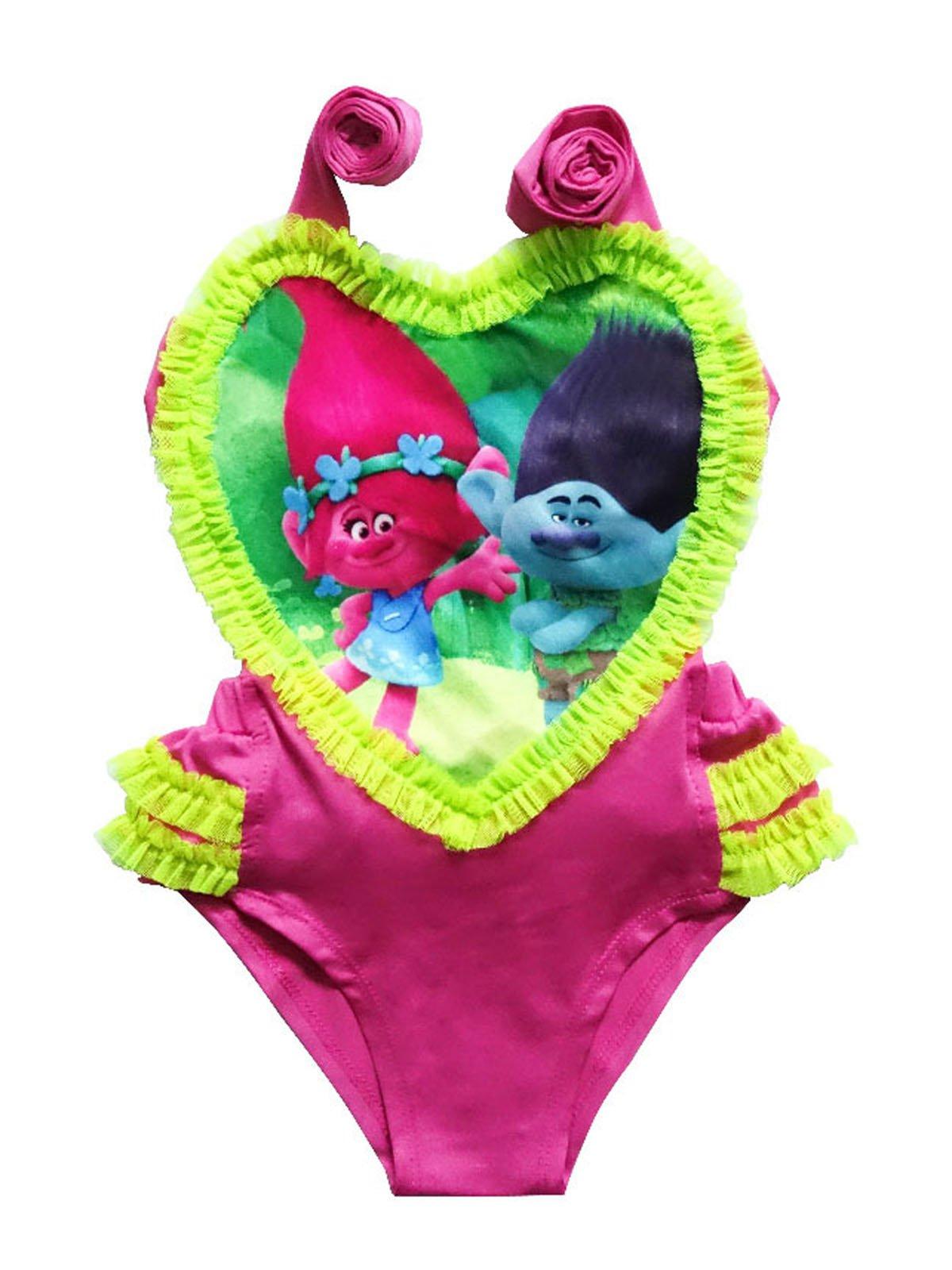 PCLOUD Trolls Cute Love Heart Fringe One Piece Swimsuit