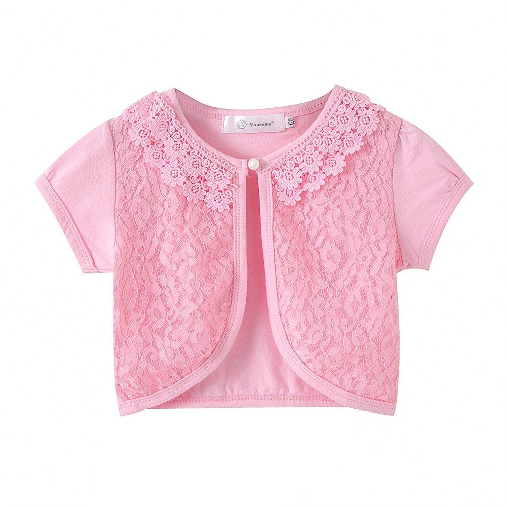 Zhuannian Little Girls Bolero Short Sleeve Cap Lace Shrug Top car-08