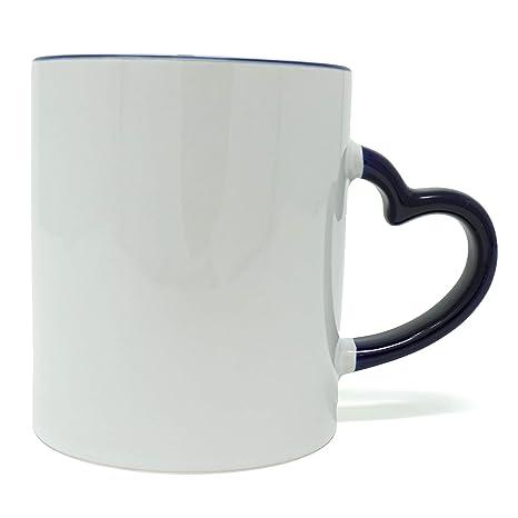 Amazon.com: Taza de cerámica blanca con un bonito asa en ...