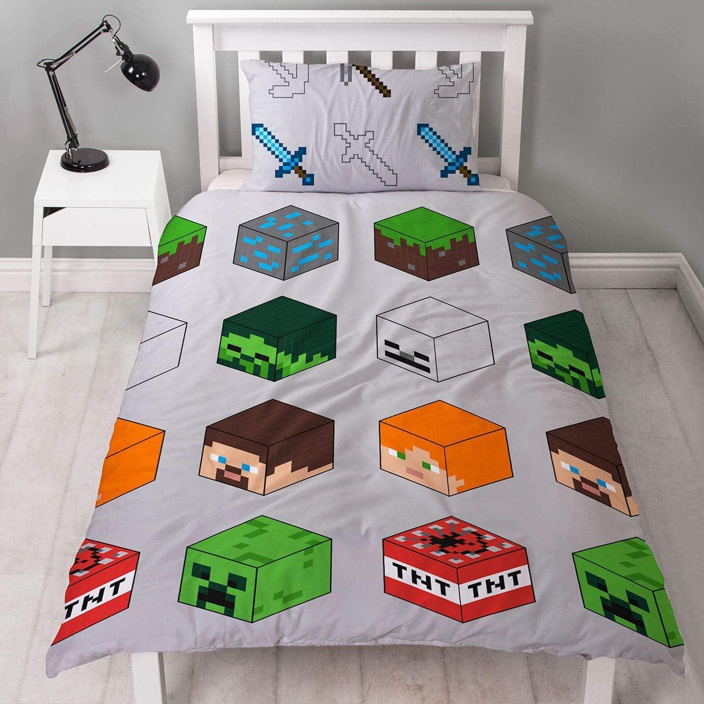 Minecraft Pixel edredón para Cama Individual, diseño Reversible de Dos Caras y TNT con Funda de Almohada a Juego, poliéster, Color Verde
