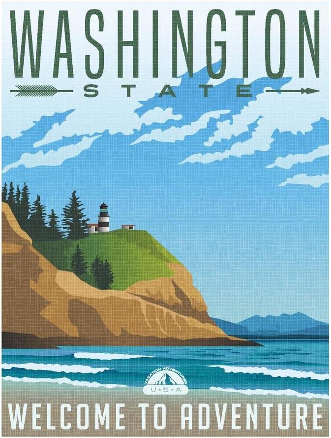 Washington State Welcome to Adventure Retro Travel Art Cool Wall Decor Art Print Poster 24x36
