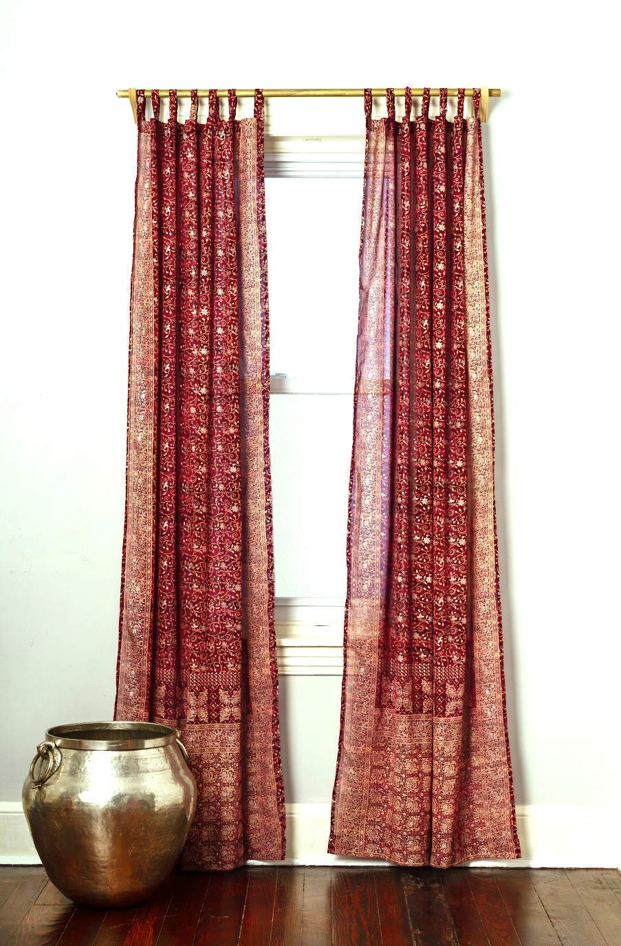 Maroon Burgundy Red Curtain Boho Window Treatment Light Sari 108 96 84 inch for Bedroom Living room Dining room Yoga Studio Canopy Bed Tent Hippie Gypsy Bohemian Chic Bright Color HomeDecor W Gift bag