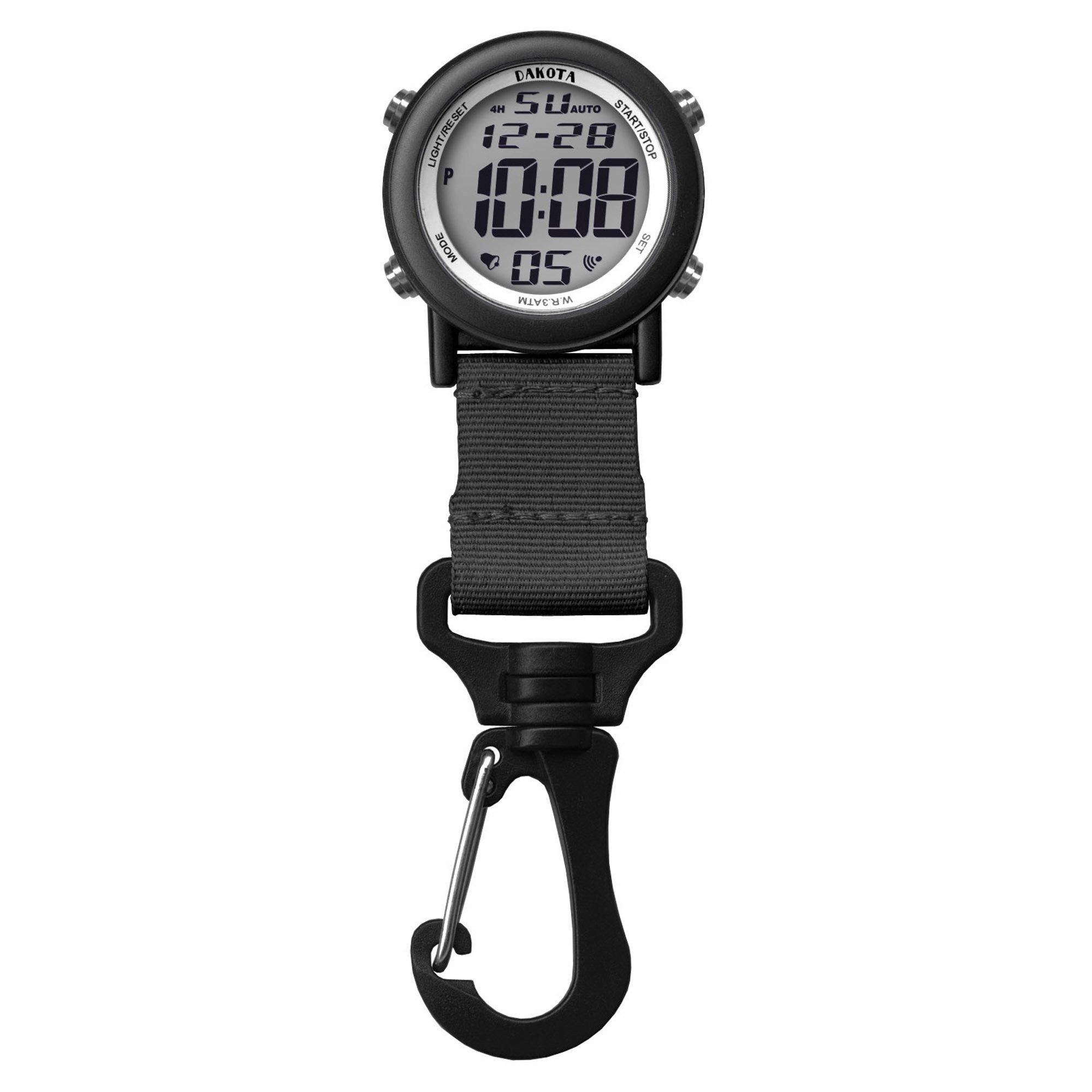 Dakota Digital Lightweight Backpacker Clip Watch, Black by Dakota