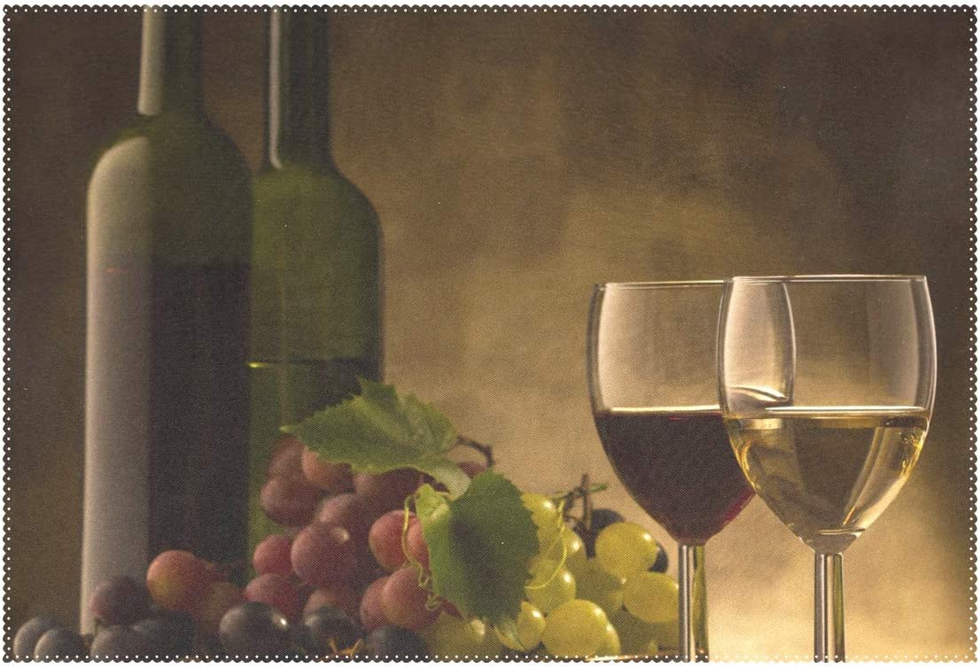 Red and White Wine Glasses Grape Placemats for Dining Table Heat Resistant Kitchen Table Decor Washable Table Mats 1 Piece