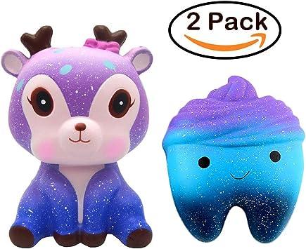 ATEENY Squishy Pack 2 Ciervo Pastel de Dientes Galaxia, Slow ...