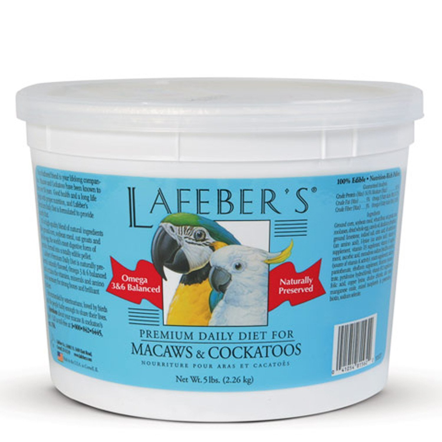 LAFEBER'S Premium Daily Diet Pellets Pet Bird Food, Made with Non-GMO and Human-Grade Ingredients, for Macaws and Cockatoos, 5 lbs by LAFEBER'S
