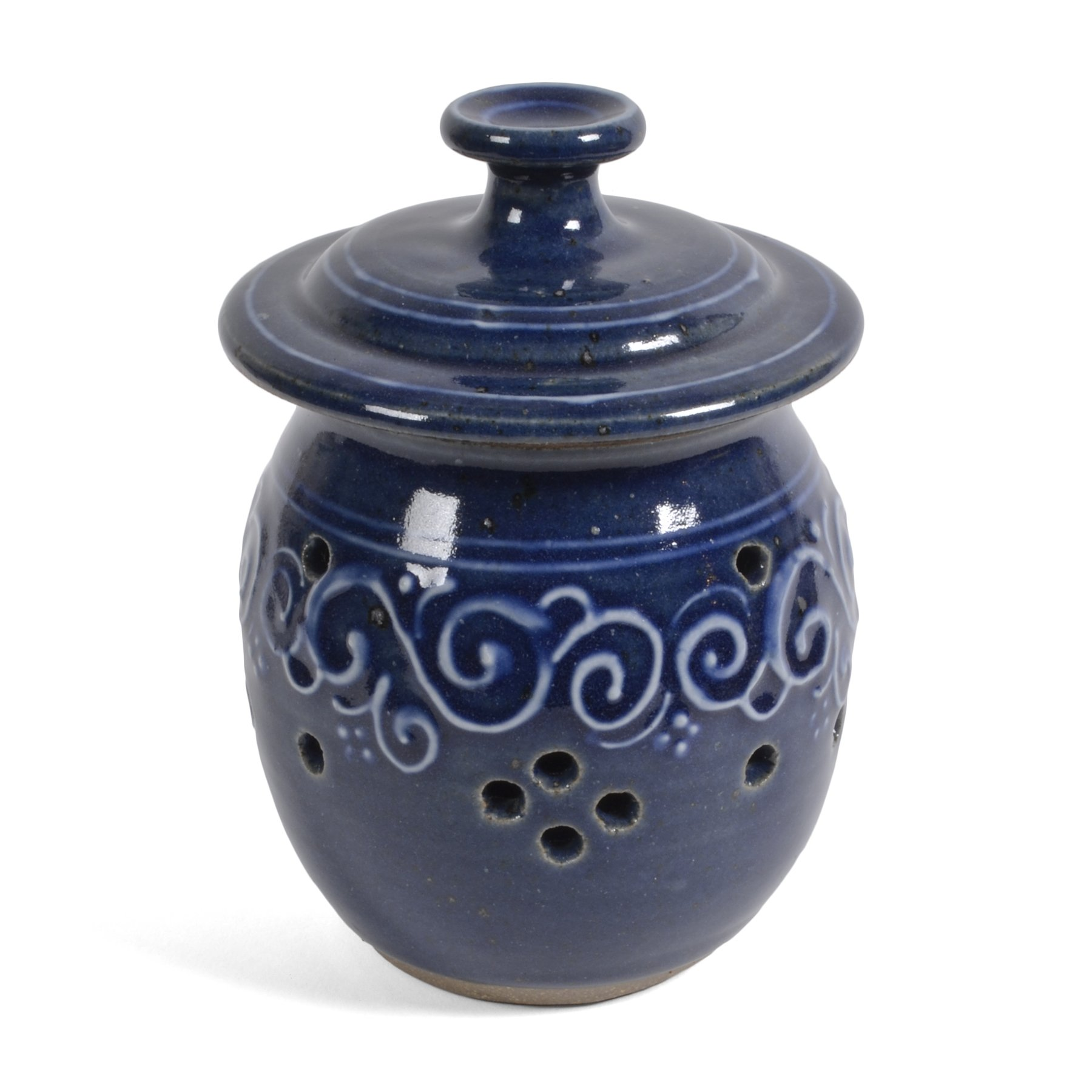 The Potters, LTD Garlic Lover's Large Garlic Keeper, True Blue by The Potters, LTD