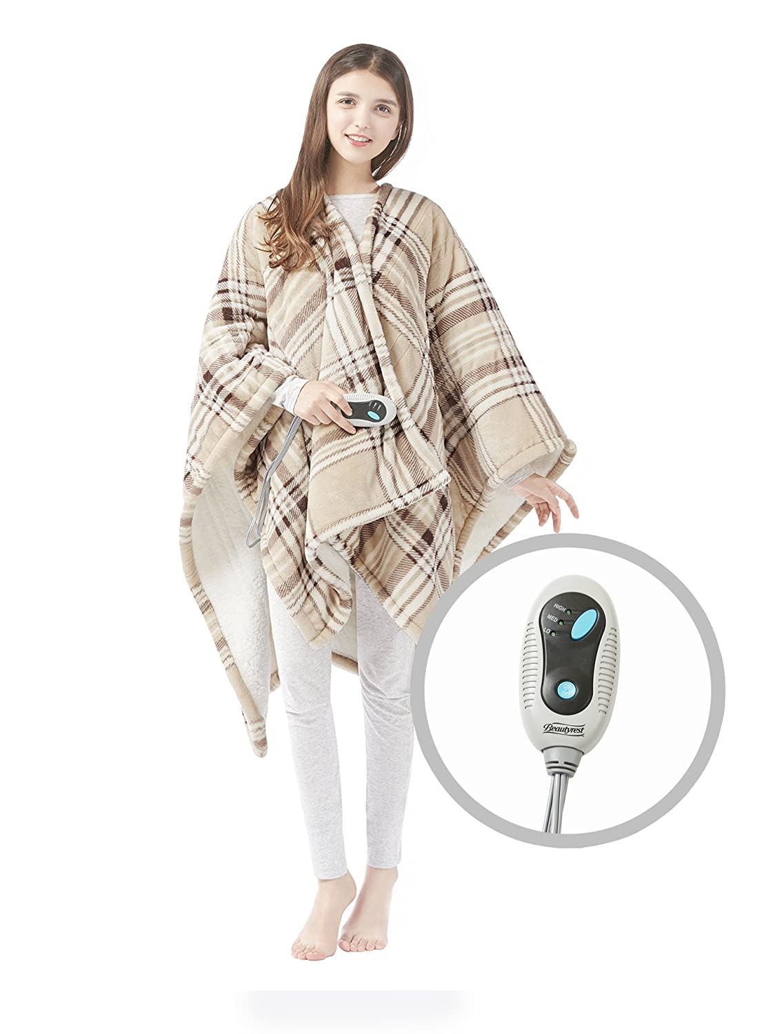 "Beautyrest Ultra Soft Sherpa Berber Fleece Electric Poncho Wrap Blanket Heated Throw with Auto Shutoff, 50"" W x 64"" L, Tan Plaid"