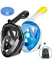 Omew Masque de Plongée, 2PCS Masque de Snorkeling, Intégral Complet Antibuée et Anti-Fuite Lunettes de Plongée, Plein Visage 180° Visible avec la Support pour Caméra de Sport (Noir & Bleu)