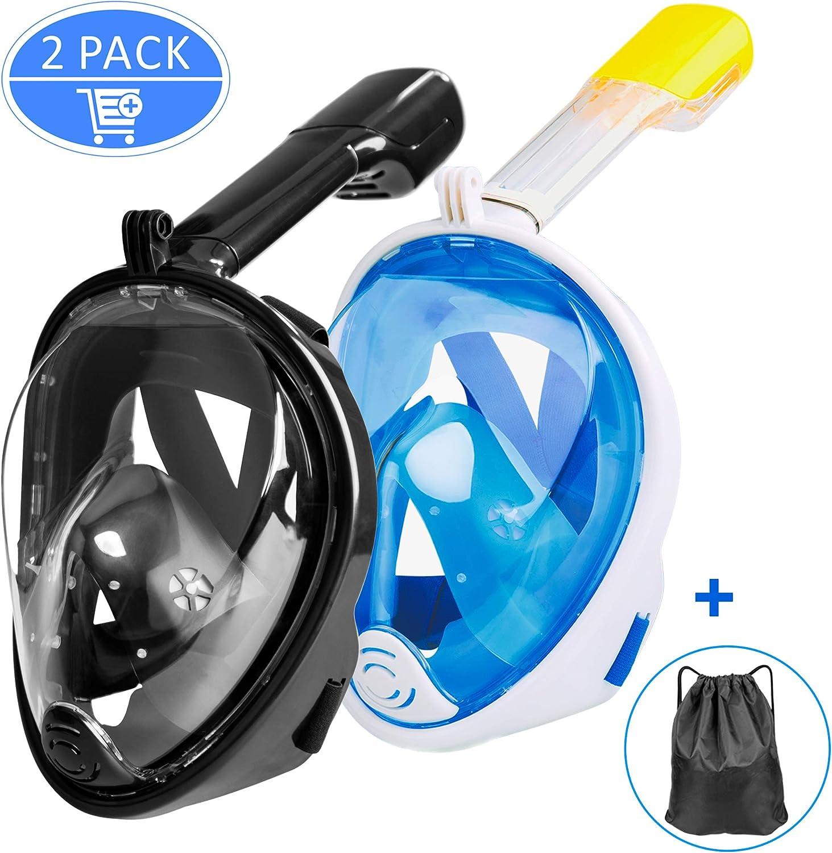 Omew Conjunto de 2 máscaras de buceo con snorkel, respiración ...