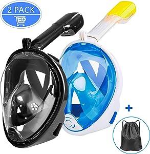 Ezire Full Face Snorkel Mask 2-Pack Seaview 180° Panoramic Viewing Snorkeling Diving Mask