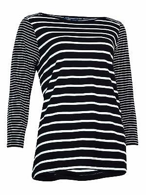 American Living Womens Striped Boat-Neck Top, BlackWhite, Medium