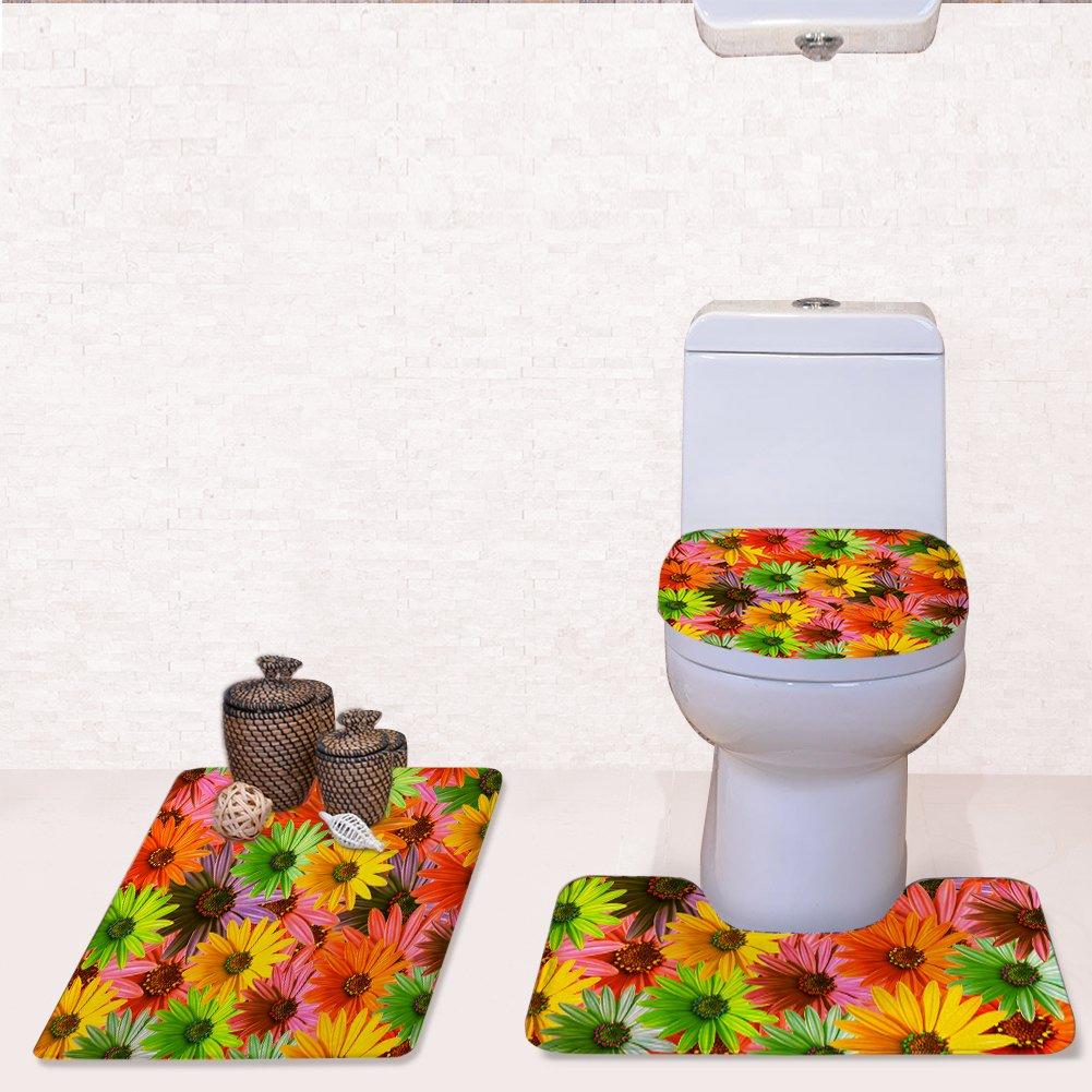 Amazon Com 3 Piece Bathroom Rug Set Soft Flannel Bath Shower Mats