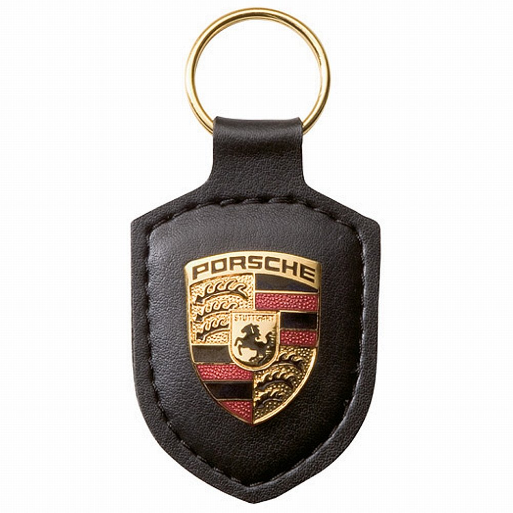 Porsche Original Key Fob Black Leather with Metal Colour Crest in Silver Presentation Box