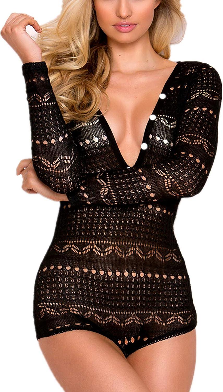 Sexy-Lingerie Womens Lace Deep-V Sheer Teddy Babydoll Long Sleeve Bodysuit US