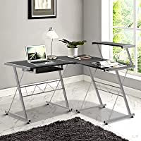 Office Computer Desk Corner Table Metal Pull-Out Keyboard Tray Top Shelf White Home Office Study Student
