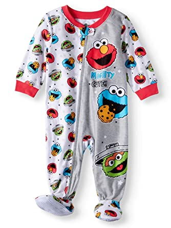 2cd3a26c48 Baby Boys Girls Elmo Mighty Cute Blanket Sleeper Footed Pajamas (9M)