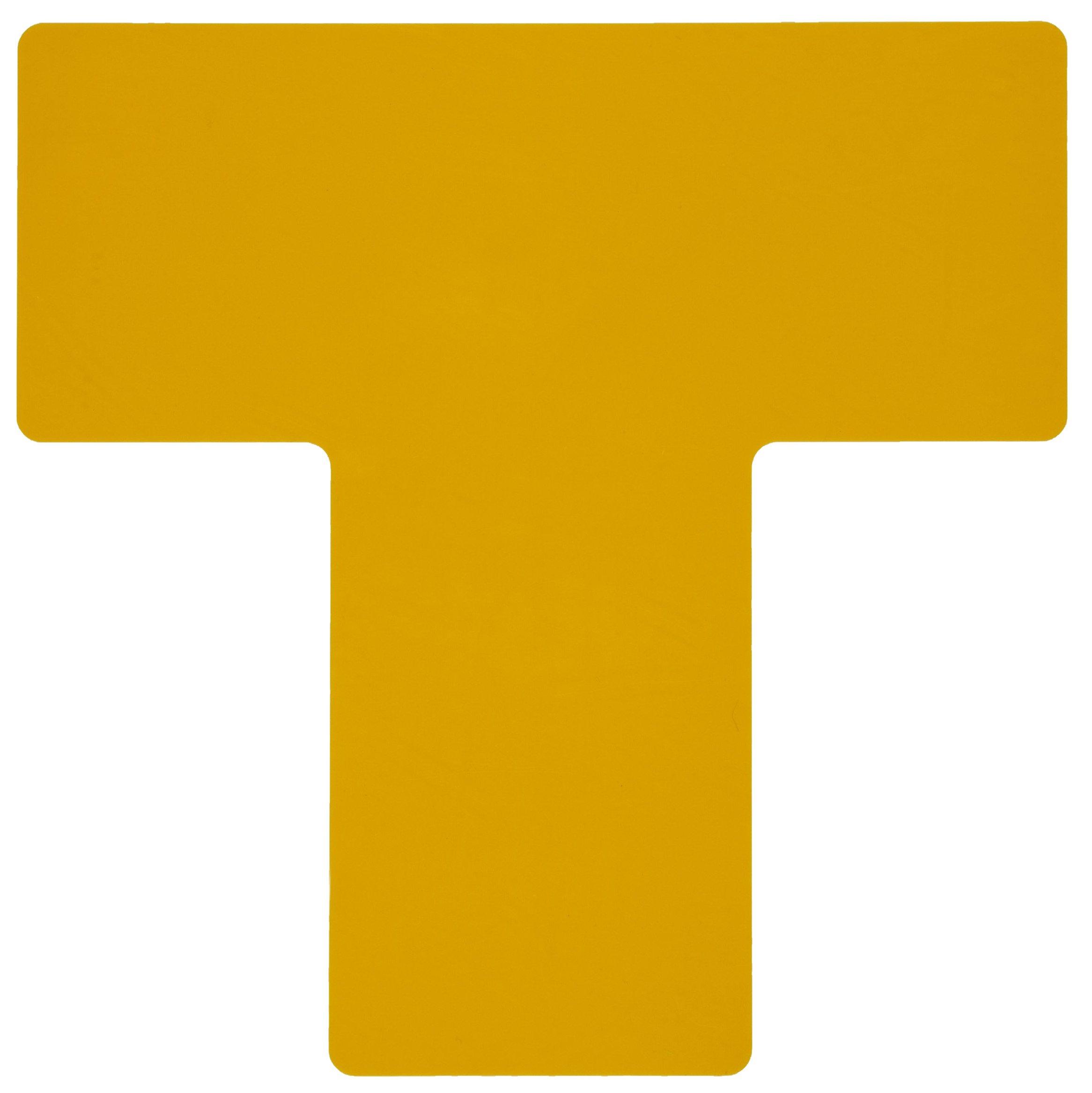 Brady ToughStripe Nonabrasive T Shape Floor Marking Tape, 10'' Length, 4'' Width, Yellow (Pack of 20 per Roll)