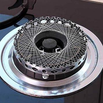 Malla de cocina circular de gas para estufa, adaptador de alambre de metal de acero inoxidable resistente al viento 14.2 x 2cm plata: Amazon.es: Hogar