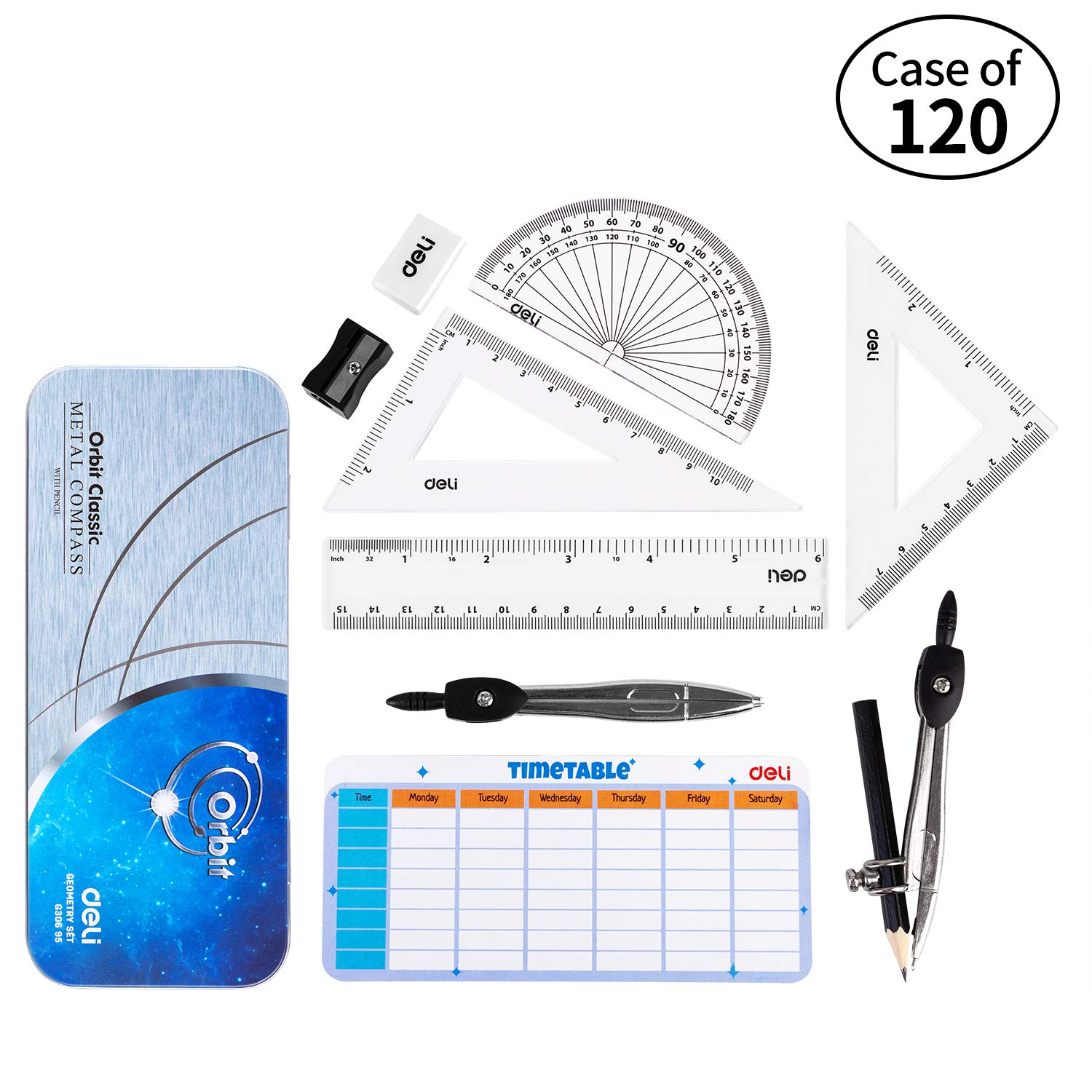 Case of 10 Packs, 12/Pack, Deli Math Geometry Kit Set 9 Pieces Student Supplies with Shatterproof Storage Box, Includes Rulers, Protractor, Compass, Pencil Sharpener, Pencil, Eraser by deli