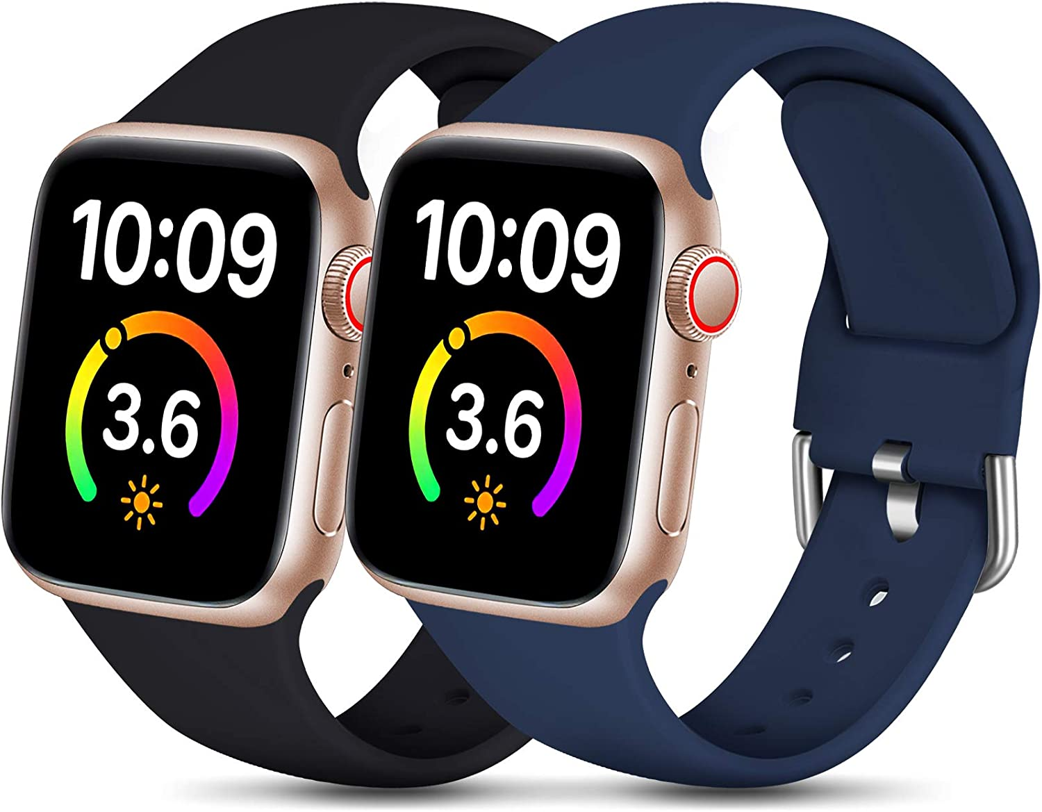 Dirrelo Compatible for Apple Watch Bands 40mm 38mm Series SE 6 5 4 3 2 1 Strap, Soft Silicone Replacement Sport Wrist Band for iwatch Band Women Men, Small Black & Dark Blue 2-Pack