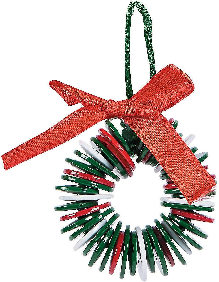 Fun Express Plastic Button Wreath Ornament Craft Kits | 24 Count | Christmas Tree Decor for Holiday Season, Yuletide Celebrations, and Special Occasions