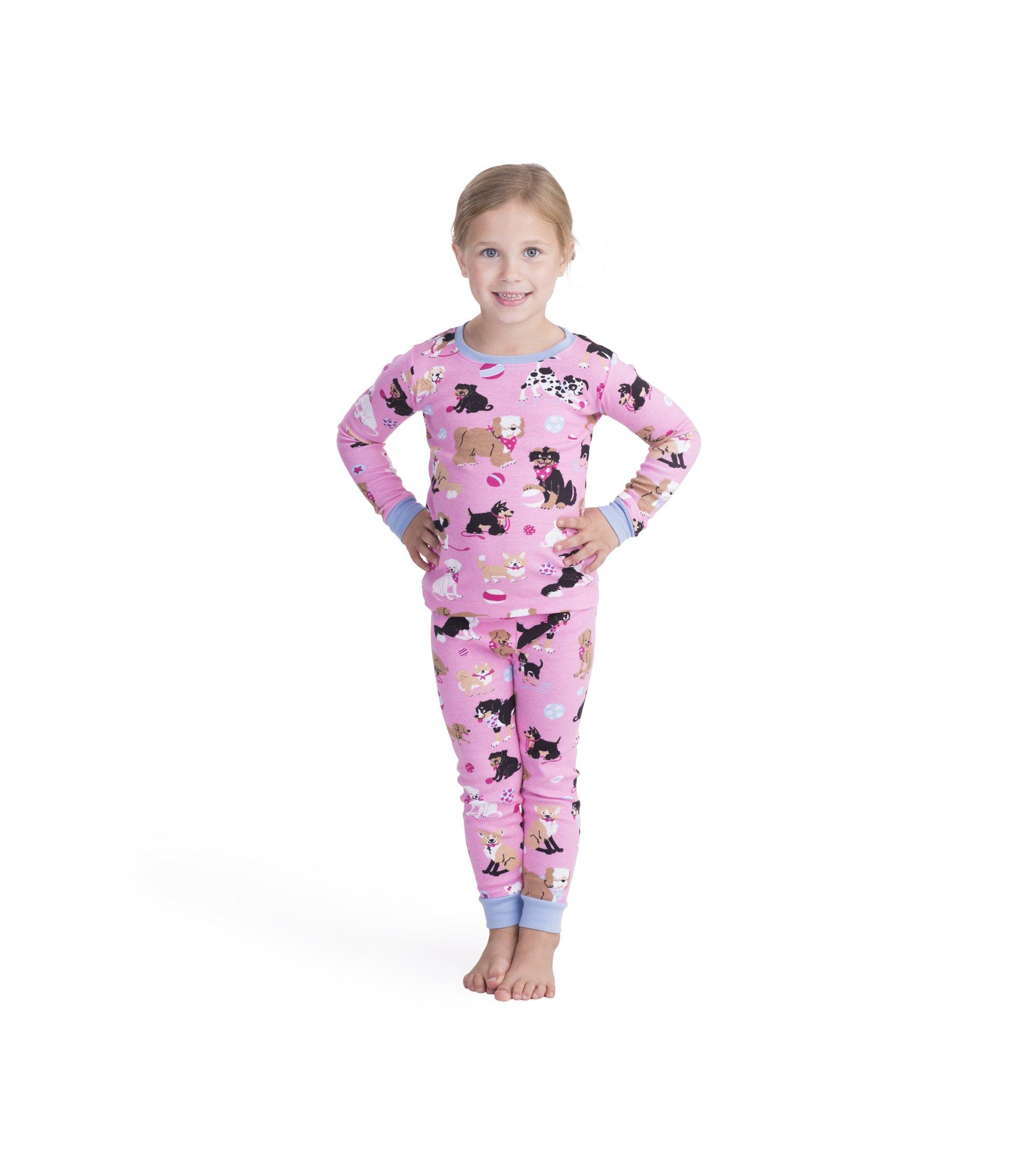 289fe1bfec5aaf Galleon - Hatley Girls' Little Organic Cotton Long Sleeve Printed Pajama  Sets, Cute Pups, 5 Years