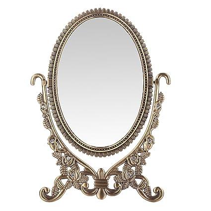 LEJU Makeup Vanity Mirror Decorative Mirrors Framed Mirror Vintage Rose  Vanity Set Tabletop Two-sided - Amazon.com - LEJU Makeup Vanity Mirror Decorative Mirrors Framed