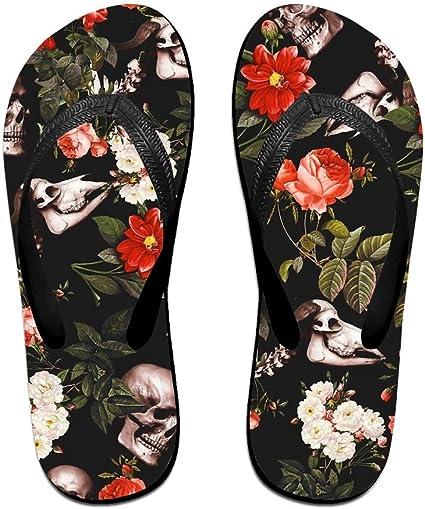 Unisex Summer Beach Slippers Skull Music Flip-Flop Flat Home Thong Sandal Shoes