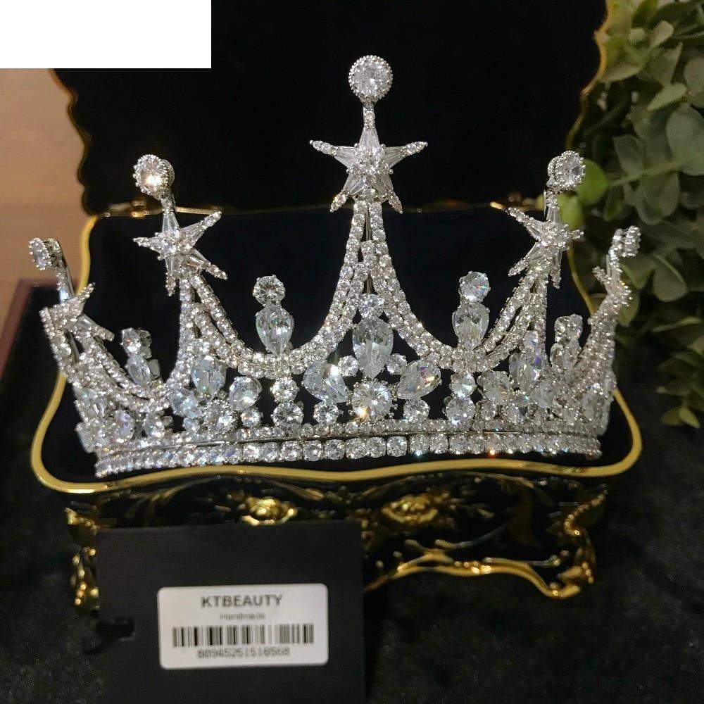 Women Girls Diamond Silver Zircon Crown Tiara Diadem D Large Crown Crown Tiara Crown Royal Bride Bridesmaid Wedding Dress Jewelry Women Hre4He9R85