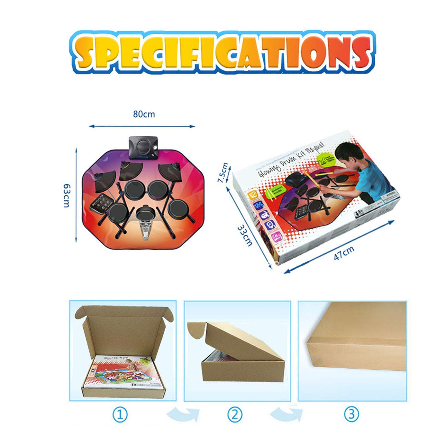 Drum Music Blanket, Jazz Drum Game Pad, Carpet Dance Mat, with Built in Music Tracks, 5 Music, Recording Function, Can Connect to Mobile Phone by ankt777 (Image #5)