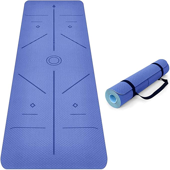 SaphiRose Non Slip Yoga Mat with Alignment Lines TPE Home Fitness Eco Friendly Exercise /& Workout Mat with Carrying Strap Types of Yoga